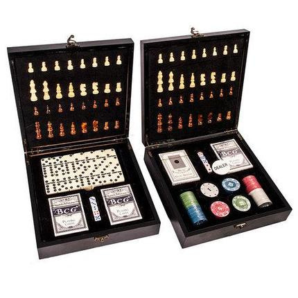 Подарочный набор: шахматы, покер, домино «Заядлый игрок» в деревянном кейсе (Шахматы и Домино), фото 2