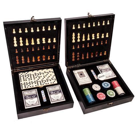 Подарочный набор: шахматы, покер, домино «Заядлый игрок» в деревянном кейсе (Шахматы и Покер)