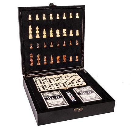 Подарочный набор: шахматы, покер, домино «Заядлый игрок» в деревянном кейсе (Шахматы и Покер), фото 2