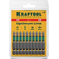 """Биты, PH1, 50 мм Optimum Line, тип хвостовика E 1/4"""", 10 шт в блистере, KRAFTOOL"""