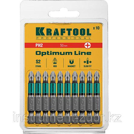 "Биты, PH2, 50 мм, Optimum Line, тип хвостовика E 1/4"", 10 шт в блистере, KRAFTOOL, фото 2"