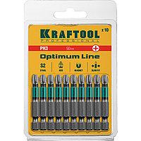 """Биты, PH3, 50 мм, Optimum Line, тип хвостовика E 1/4"""", 10 шт в блистере, KRAFTOOL"""