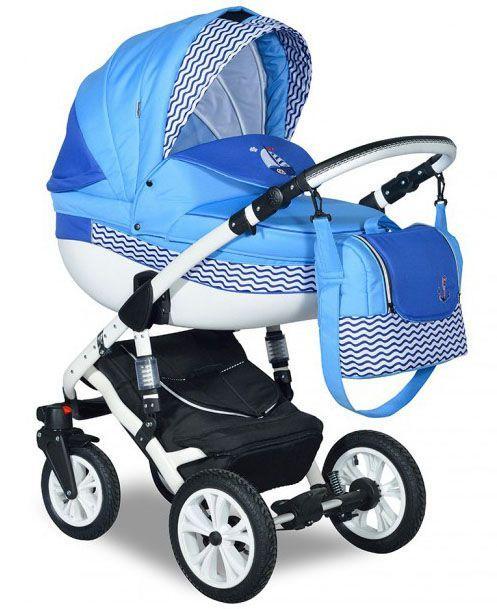 Детская коляска Indigo 2в1 ISABEL MARINE, цвет Im 01 голубой+синий