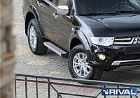 """Пороги на Mitsubishi Pajero Sport 2008-2016  """"Silver"""""""