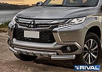 Защита переднего бампера Mitsubishi Pajero Sport 2016- d76+d57 с профильной защитой картера
