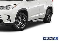 "Пороги на Toyota Highlander 2014+  ""Silver"""