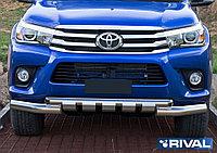 Защита переднего бампера Toyota Hilux , кроме Exclusive 2015- d76+d57 с профильной защитой картера (кроме Exclusive)