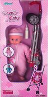 FEI LI TOYS Кукольная коляска+кукла W.13, 37,5*30*62cm, розовый,