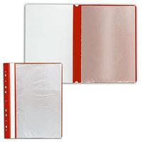 Папка с файлами с прозрачной обложкой 10 листов красный