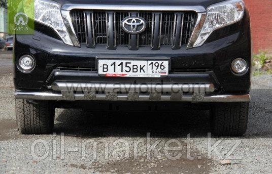 Защита переднего бампера  двойная с защитой  для Toyota Land Cruiser Prado 150 (2009-2017г)