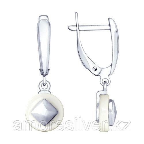 Серебряные серьги с керамикой   SOKOLOV 94023447