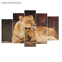 Часы настенные модульные «Львица со львёнком», 80 × 140 см