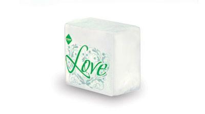 Салфетки бумажные белые «Love» 24×24 60 шт.