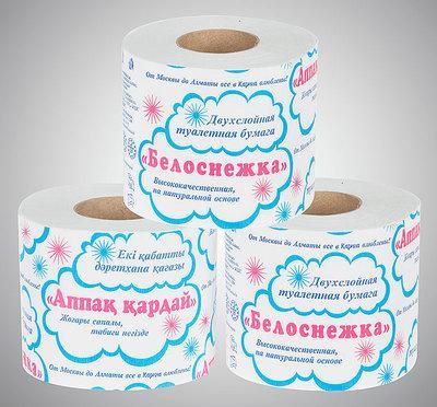 Туалетная двухслойная бумага с втулкой «Белоснежка»