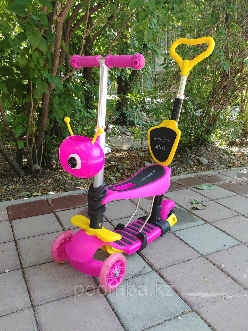 Детский Самокат 4 в 1, на 3х колесах, розовый