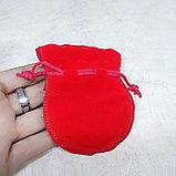 Мешочек бархатный, красный, 9*7см, фото 2
