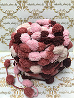 Помпонная фантазийная пряжа, цвет комбо-бордо/розовый/нежнобежевый/теракот