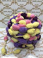 Помпонная фантазийная пряжа, цвет комбо-розовый/желтый/сиреневый/фиолет
