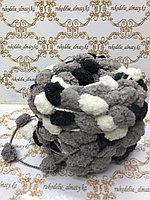 Помпонная фантазийная пряжа, цвет комбо-серый/черный/белый