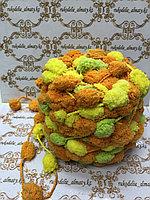 Помпонная фантазийная пряжа, цвет комбо-лимонный/салатовый/оранж