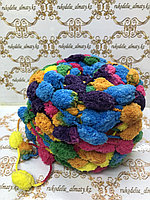 Помпонная пряжа, цвет комбо- лимон/ оранж /голубой/ зеленый/ фиолет /роз