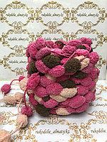 Помпонная фантазийная пряжа, цвет комбо-розовый/персиковый/шоколад