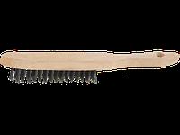 Щетка проволочная стальная, 4 ряда, с деревянной ручкой, серия MASTER, STAYER