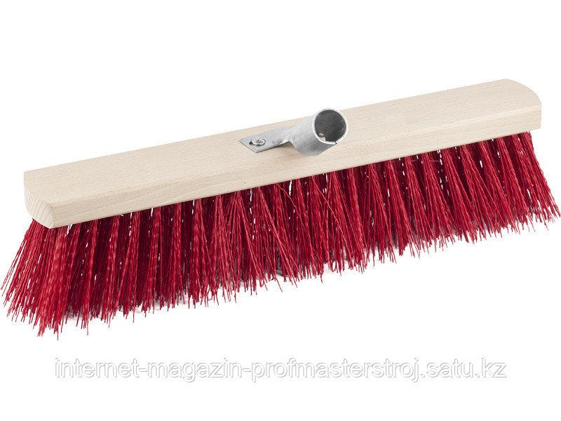 Щетка хозяйственная уличная, жесткая щетина 400 мм, ПВХ, буковая колодка, с металлическим держателем, GRINDA