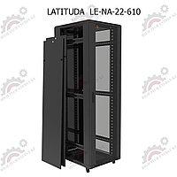 Шкаф серверный напольный LATITUDA 22U, 600*1000*1075мм, цвет черный, передняя дверь стеклянная