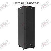 Шкаф серверный напольный LATITUDA 27U, 600*600*1297мм, цвет черный, передняя дверь стеклянная