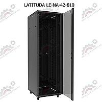 Шкаф серверный напольный LATITUDA 42U, 800*1000*1958мм, цвет черный, передняя дверь стеклянная, фото 1