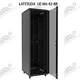 Шкаф серверный напольный LATITUDA 42U, 800*800*1958мм, цвет черный, передняя дверь стеклянная, фото 5