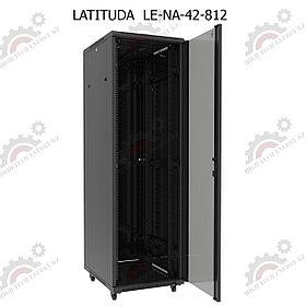 Шкаф серверный напольный LATITUDA 42U, 800*1200*1958мм, цвет черный, передняя дверь стеклянная