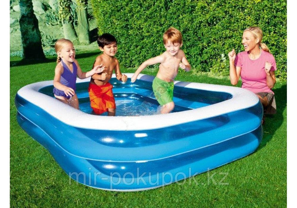 Детский надувной бассейн Bestway 54005, прямоугольный, 2 кольца, 201-150-51 см