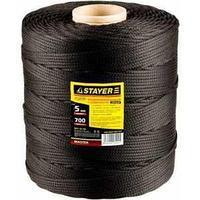Шнур полиамидный плетеный, 5 мм x 700 м, черный, серия «МАСТЕР», STAYER