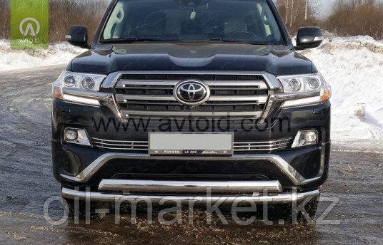 Защита переднего бампера двойная ( низ круг, верх овал) для Toyota Land Cruiser 200 ( Executive 2016-)