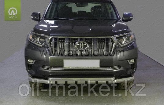 Защита переднего бампера дуги-клыки с защитой для Toyota Land Cruiser Prado 150 (2017г-)