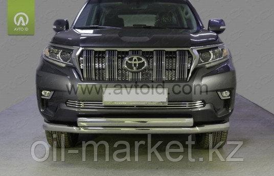 Защита переднего бампера двойная  для Toyota Land Cruiser Prado 150 (2017г-)