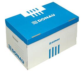 Архивный короб, 522x351x305мм, картонный, белый/голубой