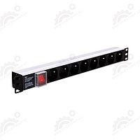 """LinkBasic CFU08-D-H1.5U-2.0 панель питания 19"""" на 8 розеток, немецкий стандарт, 2х метровый кабель, фото 1"""