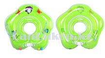 Детский круг музыкальный с погремушкой для купания на шею (зеленый)