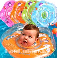 Детский круг музыкальный с погремушкой для купания на шею (оранжевый)