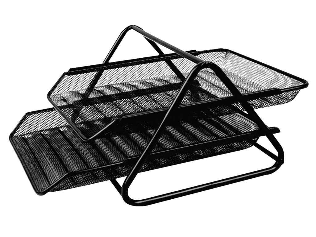 Лоток горизонтальный DELI на 2 отделения, металлический черный