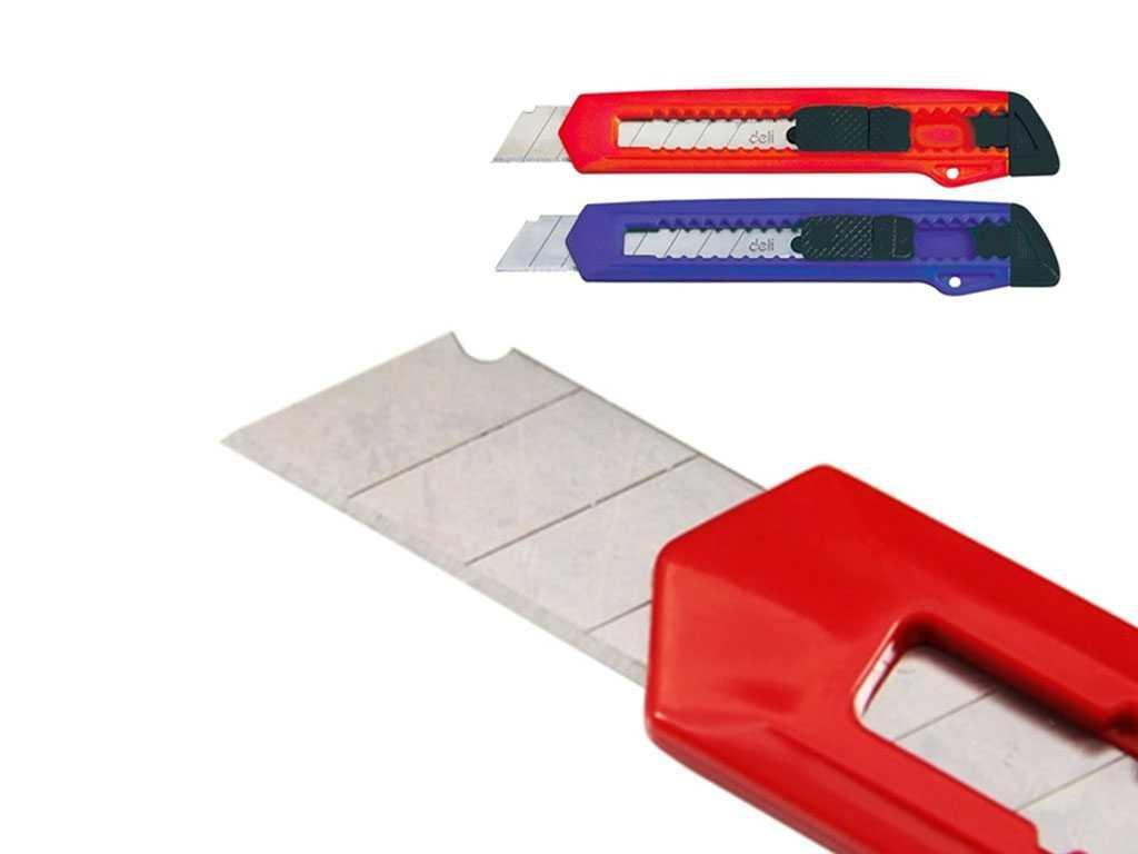 Нож канцелярский DELI, 18 мм, ассорти