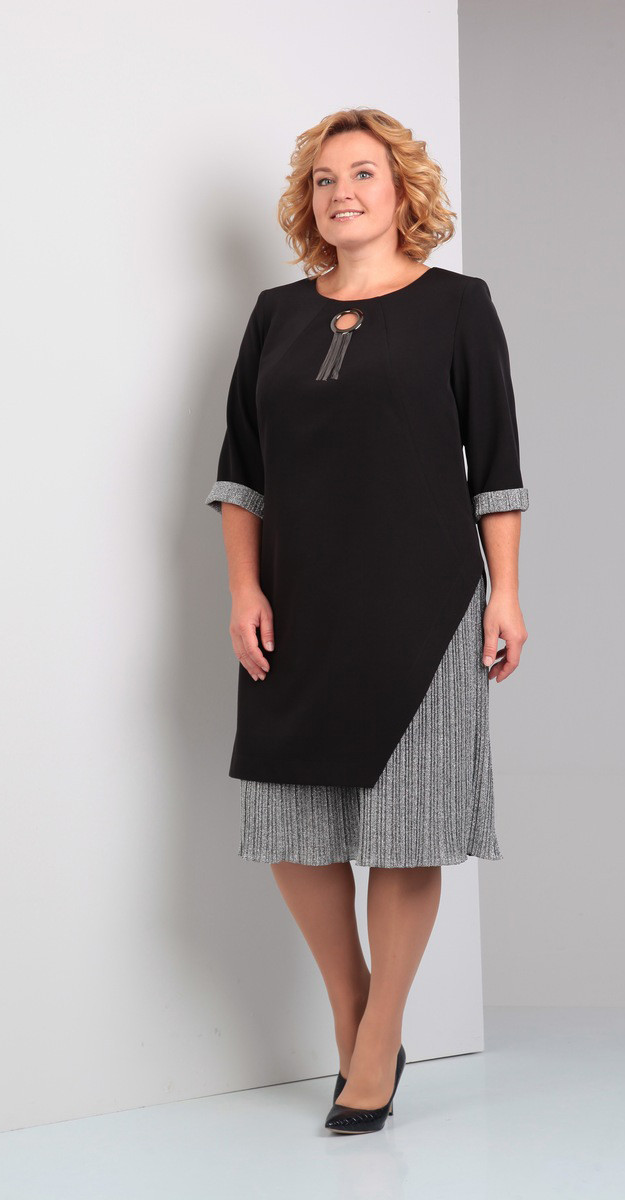 Платье Диамант-1231, черный+серый, 52