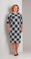 Платье Диамант-1314, черный+белый, 52