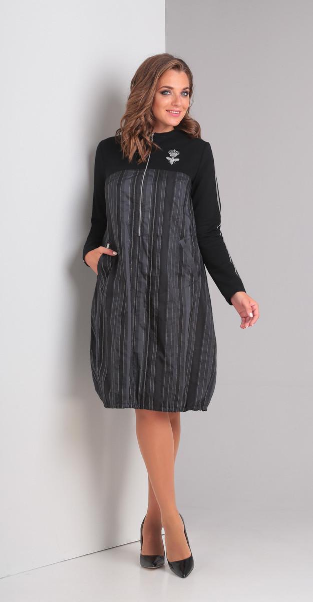 Платье Диамант-1332, серо-черный, 44