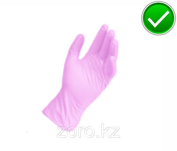 Перчатки нитриловые, неопудренные, нестерильные. Розовый. 100шт в упаковке