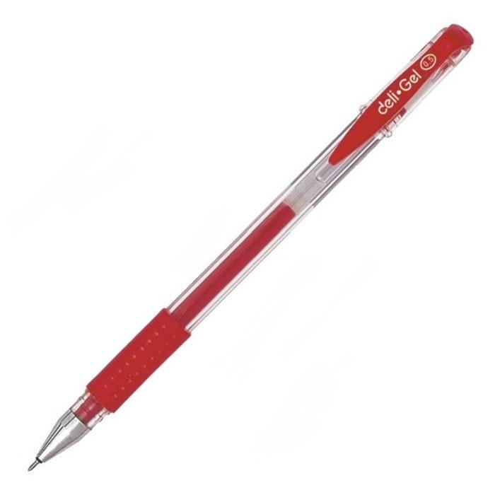 """Ручка гелевая DELI """"6601"""" 0,5 мм, красная"""