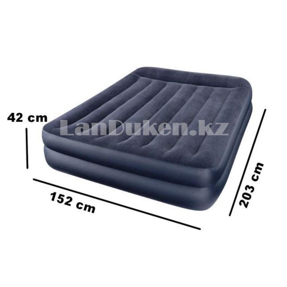 Надувной матрас двуспальный с подушкой Intex 152*203*42 см 64124 - фото 3
